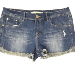 Women's Cutoff Jean Shorts Fringe Hem Distressed